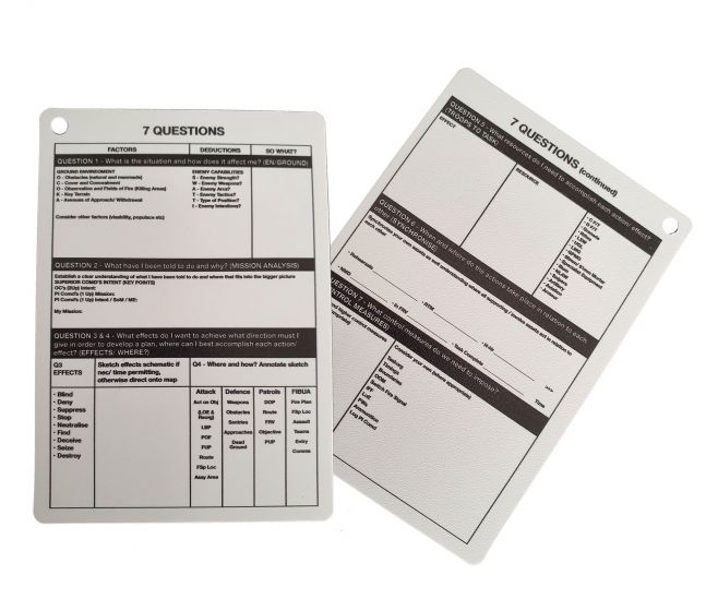 A6 - 7 Questions Plastic Battle Slate Card