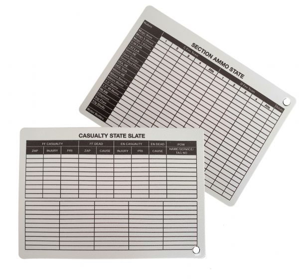 A6 - Printed Section Ammo / Casualty State Plastic Battle Slate Card (Double Sided)