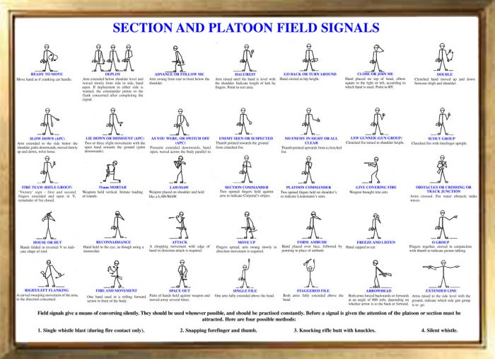 British Military Section and Platoon Hand Signals Poster