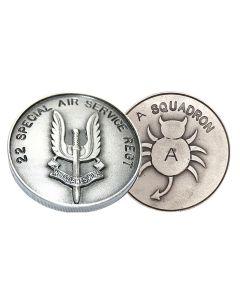 A Sqn Bug Emblem - SAS 22 Special Air Service Regiment Coin pair