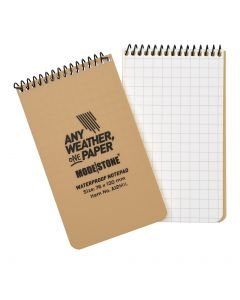 """76x130mm Top Spiral Modestone Waterproof Notepad (3""""x5"""" - 100 Pages/50 Sheets)- Military Model - Tan"""