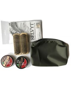 Military Boot Care Kit (Zipped Green Pouch, Black and Tan KIWI Parade Gloss, Selvyt + 2 Brushes)