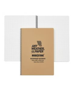 A4 Side Spiral Modestone Waterproof Notepad (100 Pages/50 Sheets) - Military Model - Tan