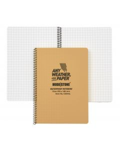 A5 Side Spiral Modestone Waterproof Notepad (100 Pages/50 Sheets) - Military Model - Tan