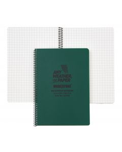 A5 Side Spiral Modestone Waterproof Notepad (100 Pages/50 Sheets) - Military Model - Green