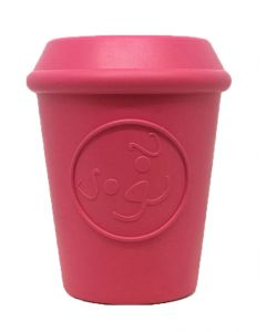 MKB Coffee Cup Durable Rubber Chew Toy & Treat Dispenser - Pink