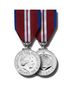 Official Queens Diamond Jubilee Miniature Medal and Ribbon
