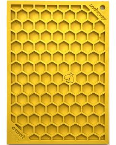 SodaPup Lick Mat - Enrichment EMAT with Honeycomb Design - Small - Yellow