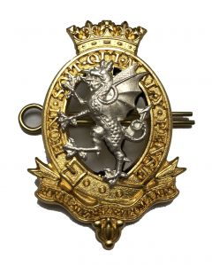 Royal Wessex Yeomanry Cap Badge (Officers, two-piece, with two shanks and pin fittings)