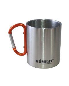Kombat Stainless Steel Carabiner Mug - Silver/Orange