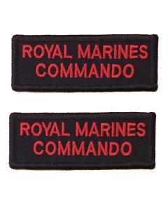 Pair Red on Black Royal Marines Commando Rectangle Flash (VELCRO® Brand Hook Backed)