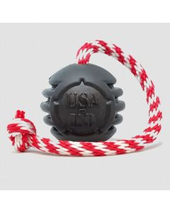 USA-K9 Magnum Black Stars and Stripes Ultra-Durable Rubber Chew Toy, Reward Toy, Tug Toy, and Retrieving Toy - Black