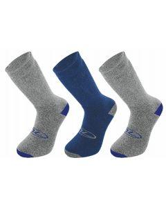 3 Pair Pack Walking Socks Grey/Blue