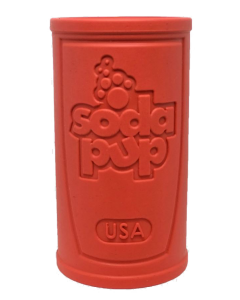 Sodapup Retro Soda Can Durable Rubber Chew Toy and Treat Dispenser - Dog Puppy  - Large - Red