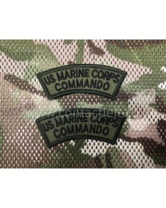 UNITED STATES MARINE CORPS COMMANDO Shoulder Titles (Pair) Black on Olive Green
